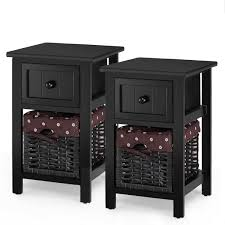 Gymax <b>2 PCS 2</b> Tier Mini <b>Nightstand</b> 1 Drawer <b>Bedside</b> End Table ...