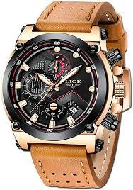 LIGE Men's Fashion Sport Quartz Watch with Brown ... - Amazon.com
