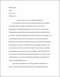 business ethics paper rebecca olson essay  this preview has intentionally blurred sections sign up to view the full version