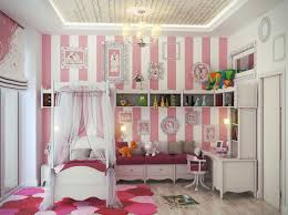 adorable feminine girls room paint ideas with stripes pink and white paint color completed with single canopy bed furnished with white desk and bedroom chandelier girls room