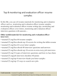 top8monitoringandevaluationofficerresumesamples 150521075527 lva1 app6891 thumbnail 4 jpg cb 1432194972