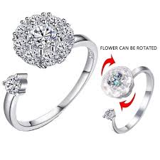 <b>Luxury Cubic Zirconia</b> Open Wedding Rings Rotating Fashion ...
