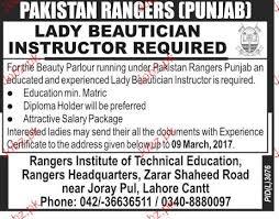 lady beautician instructors job in pakistan ranger beautician jobs