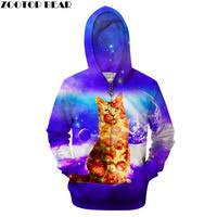 <b>Zipper 3D</b> Cat&Dog Pizza <b>Hoodies</b>