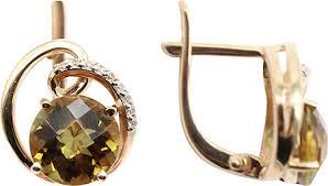 Золотые <b>серьги Гранат 2180558-g</b> с султанитами, фианитами ...
