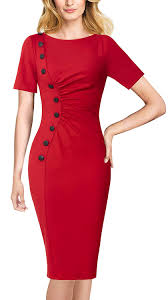 VFSHOW Womens <b>Elegant Ruched</b> Work Business Office Cocktail ...