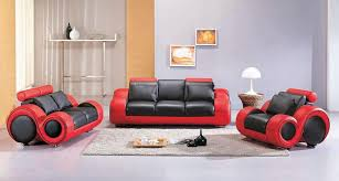 vig furniture contemporary 4088 leather black and red 3 pc living room sofa set black and red furniture