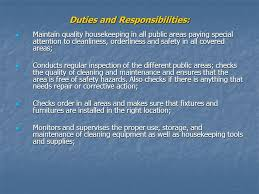 housekeeping organizational chart  executive housekeeper or    duties and responsibilities  maintain quality housekeeping in all public areas paying special attention to cleanliness