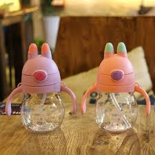 water <b>bottle</b> 320ml <b>Creative children's</b> straw kettle double handle ...