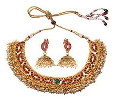 <b>Ethnic Gold</b> Plated Polki Necklace Earring Set <b>Traditional Indian</b> ...