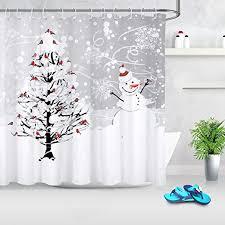 Scenic Snowman Fabric Shower <b>Curtain</b> Cardinal Birds <b>Snow</b> ...