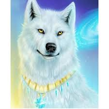 <b>White Wolf</b> - <b>DIY Diamond</b> Painting | A WOLVES | Anime wolf, White ...