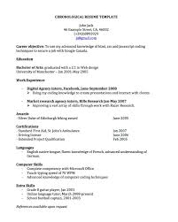 chronological resume for joblers