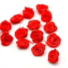 <b>50pcs</b>/lot <b>DIY</b> Satin <b>Ribbon</b> Roses Flower Appliques <b>Scrapbooking</b> ...