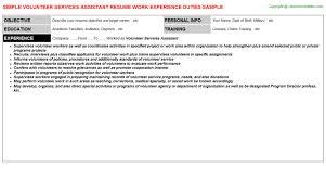 volunteer services assistant resume fund administrator resume