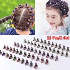 <b>12PCS</b>/<b>Lot</b> Small <b>Cute</b> Crystal Flowers Metal <b>Hair</b> Claws <b>Hair</b> Clip ...