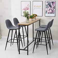 TUKAILAI <b>Bar Stools</b> Set of <b>4 pcs Barstools</b> Grey High Stools ...