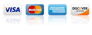 Visa, Mastercard, American Express and Discover cards