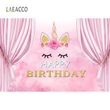 <b>Laeacco Unicorn Birthday Party</b> Backdrop Pink Curtain Baby Flower ...