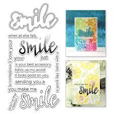 <b>YaMinSanNiO</b> Smile Letter Metal <b>Cutting</b> Dies and Clear <b>Stamps</b> ...