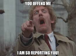 You offend me i am so reporting you! - Donald Sutherland - quickmeme via Relatably.com