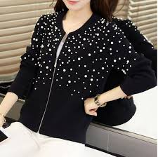 Pearl beads cardigan 2018 autumn <b>winter new</b> air conditioning ...