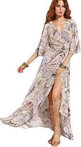 Milumia Women's <b>Boho Deep V Neck</b> Floral Chiffon Wrap Split Long ...