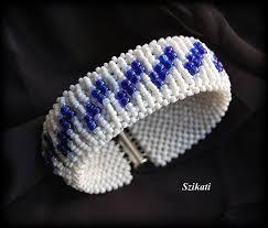Beaded <b>white</b> & <b>blue</b> seed bead RAW cuff bracelet OOAK by Szikati ...