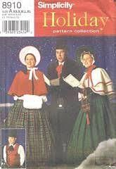 Simplicity 8910 Dickens <b>Christmas</b> Carolers <b>Costume Pattern</b> ...