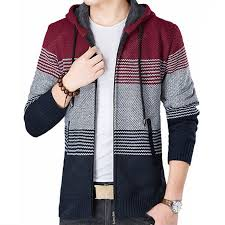 New Fashion Men Spring <b>Autumn Winter</b> Strips with Cap Casual ...