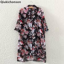 <b>Qiukichonson Floral Chiffon</b> Blouse Woman 2018 Spring Summer ...