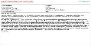 estimator cover letters   collision estimator