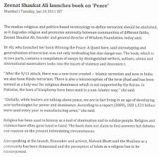 the wisdom foundation zeenat shaukat ali launches book on peace news web 123 com news articles 20110119 1669839 html
