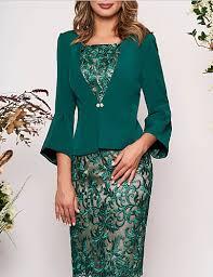 Women's Elegant Slim <b>Two Piece</b> Dress - Geometric Lace Green ...