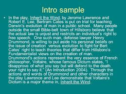 the essay in a nutshell how to make it better  format all essays    intro sample in the play  inherit the wind  by jerome lawrence and robert e