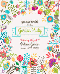 party invitation stock vector illustration and royalty party invitation garden or summer party invitation template or poster nature flower set design