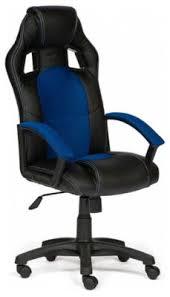 <b>Кресло Tetchair DRIVER</b> (<b>кож/зам/ткань</b>, черный/синий, 36-6/10 ...