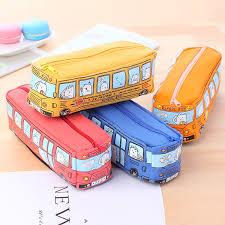 <b>Hot</b> sale <b>1pc</b> Cute Bus <b>Design</b> Kids stationary Bags student school ...