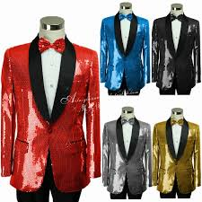 New Brand Shawl Collar Sequins <b>Men Suits</b> Red Blue Wedding ...