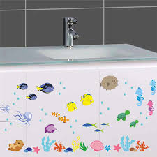 % PVC Underwater Sea <b>Fish Wall Stickers</b> bathroom Toilet Nursery ...