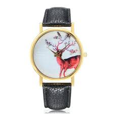 Fashion Deer Pattern Gold Color Case PU Leather Band Analog ...