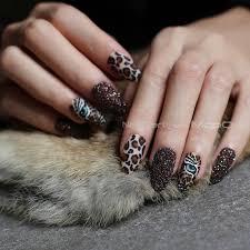 Online Shop Matte tiger <b>Nail Acrylic Fake nail</b> black box Leopard ...