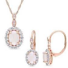 <b>2</b>-<b>Piece Set</b> Opal- White Topaz and Diamond <b>Vintage</b> Necklace and ...