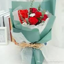 Korean <b>Flowers Waterproof</b> Paper Packaging Gift Wrapping Solid ...
