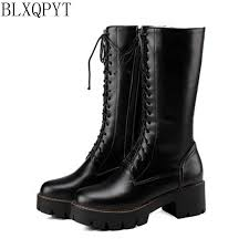2016 Winter Boots Botas Mujer <b>Big Size 34 47 New</b> Round Toe ...