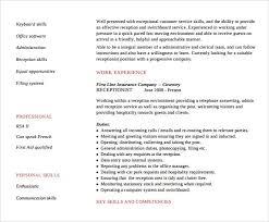 sample receptionist resume template     download free documents    receptionist resume template