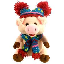 "Мягкая игрушка ""<b>Свинка в шапке с</b> помпонами"""
