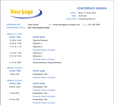 meeting agenda templates smartsheet make conference planning easier this conference agenda template fields for date and time event s and presenter s are clearly marked