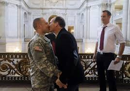 gay marriage opponents ask court to halt calif weddings com army capt michael potoczniak left kisses todd saunders as witness sean boileau watches