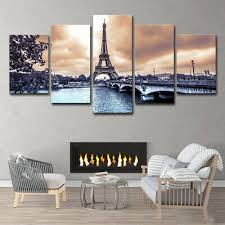 5pcs Eiffel Tower European <b>Cities</b> Wall Art <b>HD Print</b> Canvas Painting ...